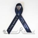NAVY BLUE plain satin woven awareness / cause / charity ribbon and pin attachment