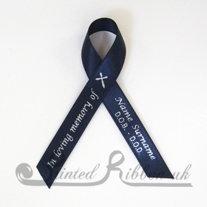 NAVYAWPR100PK Pack of 100 NAVY BLUE Personalised d/f Satin Funeral / Memorial ribbons with pin attached