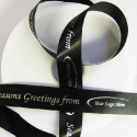 25mm smooth BLACK christmas Ribbon, SILVER print  25m