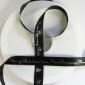 15mm smooth BLACK christmas Ribbon, SILVER print  25m