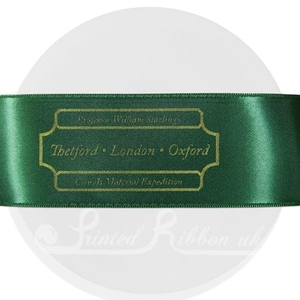 PR38DGRN25M GREEN 38mm Personalised Printed Satin Ribbon - 25m Roll