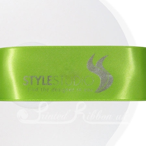 PR38LGRN50M LIME GREEN 38mm Personalised Printed Satin Ribbon - 50m Roll