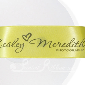 PR38YLLW50M YELLOW 38mm Personalised Printed Satin Ribbon - 50m Roll
