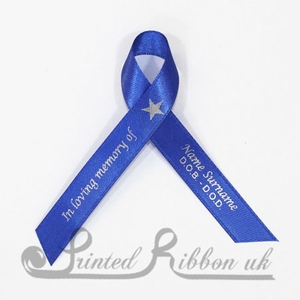RBLUAWPR100PK Pack of 100 ROYAL BLUE Personalised d/f Satin Funeral / Memorial ribbons with pin attached