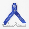 ROYAL BLUE plain satin woven awareness / cause / charity ribbon and pin attachment