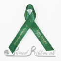 EMERALD GREEN plain satin woven awareness / cause / charity ribbon and pin attachment