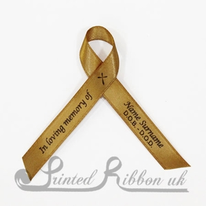 GOLDAWPR100PK Pack of 100 GOLD Personalised d/f Satin Funeral / Memorial ribbons with pin attached