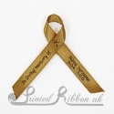 GOLD plain satin woven awareness / cause / charity ribbon and pin attachment