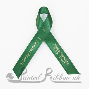 DGRNAWPR10PK Pack of 10 EMERALD GREEN Personalised d/f Satin Funeral / Memorial ribbons with pin attached