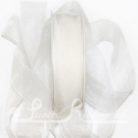 25mm white organza / chiffon ribbon, 25m roll