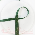 Merry Christmas printed in Gold on 10mm glittery Emerald Green ribbon