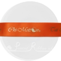 25m roll of personalised, printed 25mm wide BRIGHT ORANGE double faced (d/f) satin ribbon
