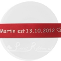 25m roll of personalised, printed 25mm wide BRIGHT RED double faced (d/f) satin ribbon