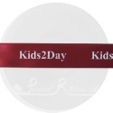 25m roll of personalised, printed 25mm wide BURGUNDY double faced (d/f) satin ribbon