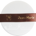 25m roll of personalised, printed 25mm wide COFFEE BROWN double faced (d/f) satin ribbon