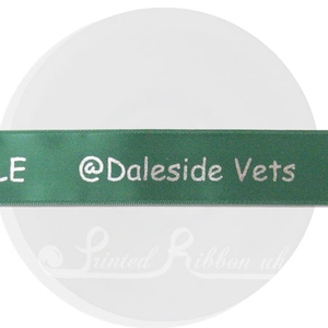 PW25DGRN25M 25m roll of personalised, printed 25mm wide EMERALD GREEN double faced (d/f) satin ribbon
