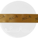 25m roll of personalised, printed 25mm wide gold double faced (d/f) satin ribbon
