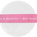 25m roll of personalised, printed 25mm wide HOT PINK double faced (d/f) satin ribbon