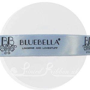 PW25LBLU25M 25m roll of personalised, printed 25mm wide LIGHT BLUE double faced (d/f) satin ribbon