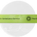 25m roll of personalised, printed 25mm wide LIME GREEN double faced (d/f) satin ribbon
