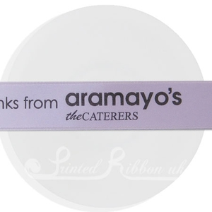 PW25LILC25M 25m roll of personalised, printed 25mm wide LILAC double faced (d/f) satin ribbon