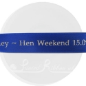 25m roll of personalised, printed 25mm wide  ROYAL BLUE double faced (d/f) satin ribbon