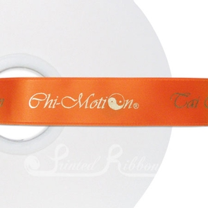 PW25BORG50M BRIGHT ORANGE Personalised printed 25mm wide satin Wedding Ribbon by 50m roll for wedding favours