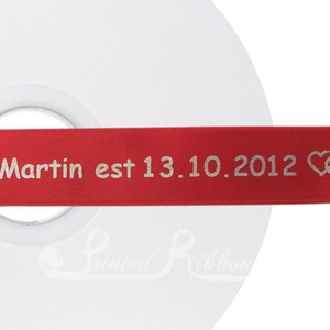 PW25BRED50M BRIGHT RED Personalised printed 25mm wide satin Wedding Ribbon by 50m roll for wedding favours