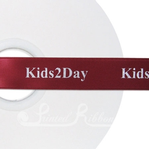 PW25BURG50M BURGUNDY Personalised printed 25mm wide satin Wedding Ribbon by 50m roll for wedding favours
