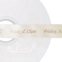 CREAM personalised wedding ribbon 25mm wide, 50m roll