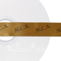 GOLD personalised wedding ribbon 25mm wide, 50m roll