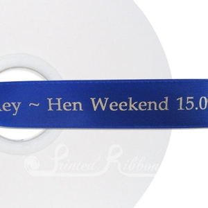 PW25RBLU50M ROYAL BLUE Personalised printed 25mm wide satin Wedding Ribbon by 50m roll for wedding favours