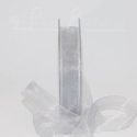 15mm silver organza / chiffon ribbon, 25m roll