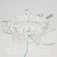PWGBIVRY Ivory Satin and Lace Personalised Wedding Garter