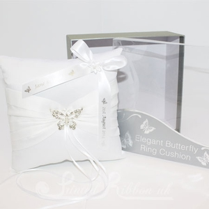 PWRCBUTTERFLYWHTE Personalised Wedding Butterfly Ring Cushion - White