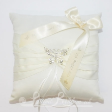 PWRCBUTTERFLYIVRY Personalised Wedding Butterfly Ring Cushion - Ivory