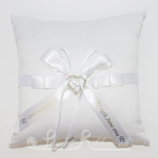 PWRCHEARTWHTE Personalised Wedding Heart Ring Cushion - White