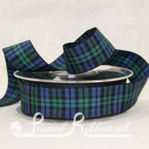 TAR25BLWATCH20M Black Watch classic tartan ribbon 25mm x 20m roll