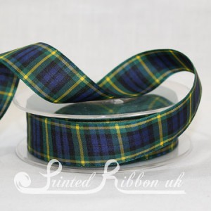 TAR25GORD20M Gordon Clan classic tartan ribbon 25mm x 20m roll