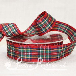 TAR25ROYSTEW20M Royal Stewart Clan classic tartan ribbon 25mm x 20m roll
