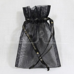 FAVORGBLCK10 Hand Made Black Organza Wedding Favour Bag with Personalised Drawstrings x10