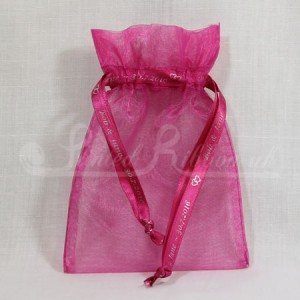 FAVORGFUCH10 Hand Made Fuchsia Organza Wedding Favour Bag with Personalised Drawstrings x10