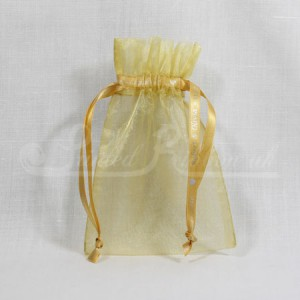 FAVORGGOLD10 Hand Made Gold Organza Wedding Favour Bag with Personalised Drawstrings x10