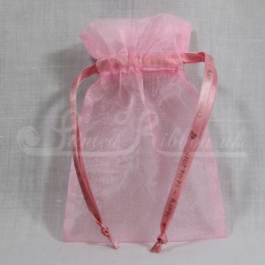 FAVORGLPNK10 Hand Made Light Pink Organza Wedding Favour Bag with Personalised Drawstrings x10