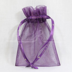 FAVORPURP10 Hand Made Purple Organza Wedding Favour Bag with Personalised Drawstrings x10
