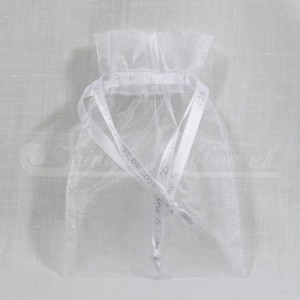 FAVORGWHTE10 Hand Made White Organza Wedding Favour Bag with Personalised Drawstrings x10