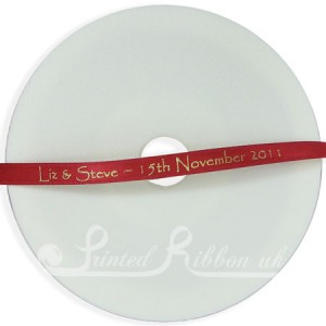 PR7BRED25M 25m Roll of Personalised, Custom Printed 7mm Wide BRIGHT RED d/f Satin Ribbon - Choose your print colour