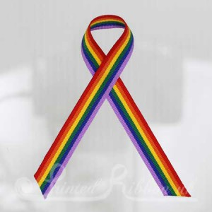 RAINBOWAW Pack of 10 RAINBOW Awareness ribbons with pins attached