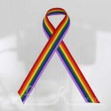 Rainbow plain awareness / cause / charity ribbon and pin attachment