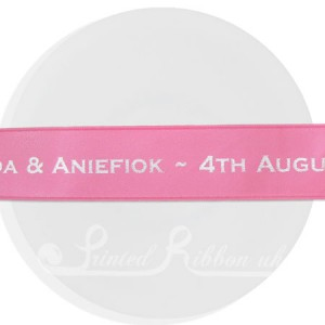 PR25HPNK50M HOT PINK 25mm Personalised Printed Satin Ribbon - 50m Roll